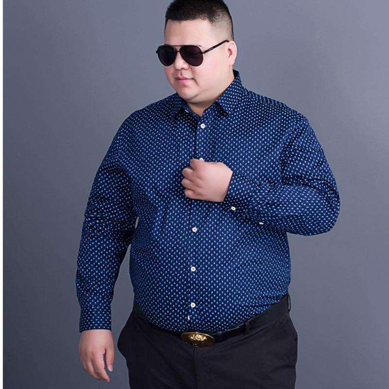 Large Size 8XL 7XL  Men Dress Shirts Brand Clothing Fashion Camisa Social Casual Men Shirt Slim Fit Long-Sleeve Camisa Masculina