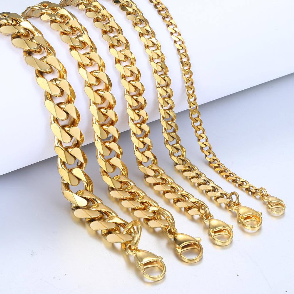 3-11mm Men's Bracelets Gold Black silver color Stainless Steel Curb Cuban Link Chain For Men Women Simple Classic Jewelry