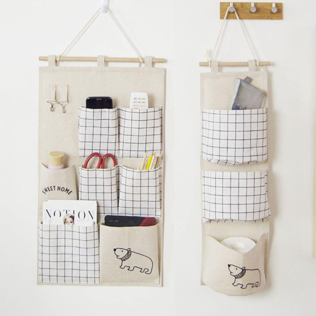 3/7 Pockets  Cotton Linen Wall Door Closet Multi-layer Hanging Storage Organizer for Room Bathroom Rack Jewelry Storage Basket