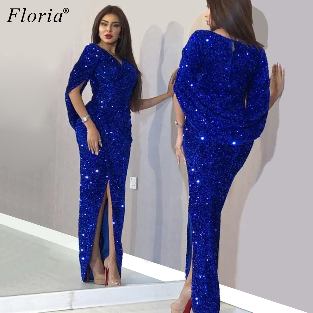 Plus Size Royal Blue Sparkly Evening Dresses 2020 Middle East Sexy Prom Dresses Woman Party Night Vestidos De Gala Abendkleider