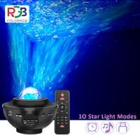 USB LED Stern Musik Starry Wasser Welle LED Projektor Licht Bluetooth Projektor Sound-Aktiviert Projektor Licht Nacht Licht