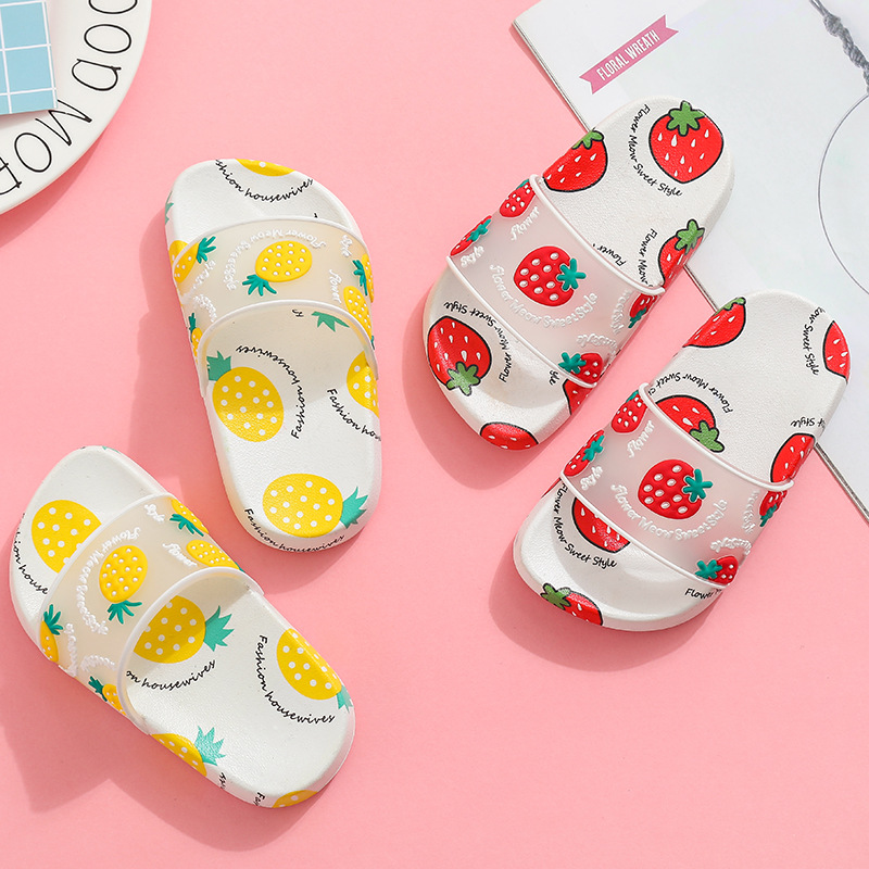Children-parent Slippers Summer Girls Cute Home Shoes Cartoon Fruit Household Indoor Anti-slip Soft-Sole Big Kids Sandals