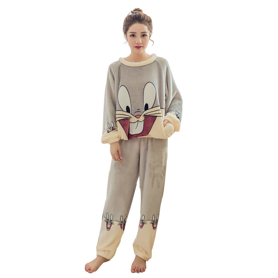 QHYZOU  Animal Pajamas Sets For Adults Girls Funny Women's Sleepwear Flannel Cartoon Warm Winter Pijama Home Soft