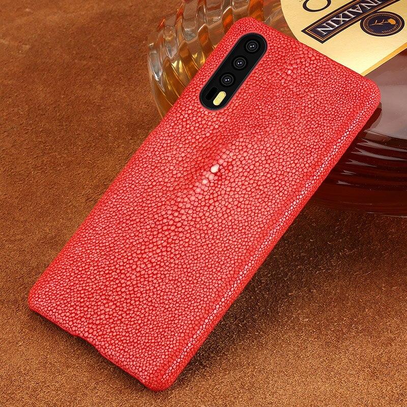 Étui pour huawei de téléphone en peau de poisson perle naturelle P20 P20 Pro lite étui en cuir véritable couverture arrière pour Mate 10 lite P étui intelligent