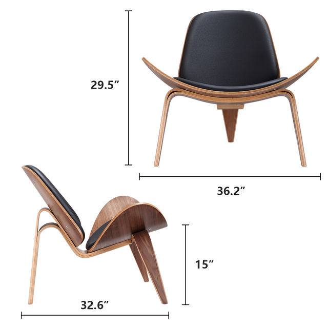 Furgle Mid Century Lounge Chair Replica Shell Chair Modern Tripod Plywood Lounge Chair 3 Wood Colors with Black Leather Chairs 2