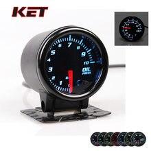 """KET """" 52 мм Универсальный Автомобильный авто 12 в 7 цветов измеритель давления масла светодиодный датчик с датчиком бар PSI Автомобильный датчик"""