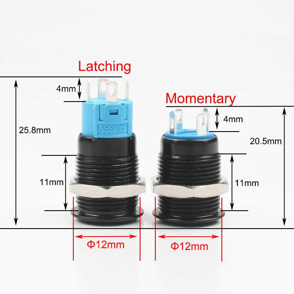 Interruptor de botón negro de 4 pines 12mm, interruptores momentáneos planos de Metal iluminados a prueba de agua con marca de alimentación 3V 6V 12V 24V