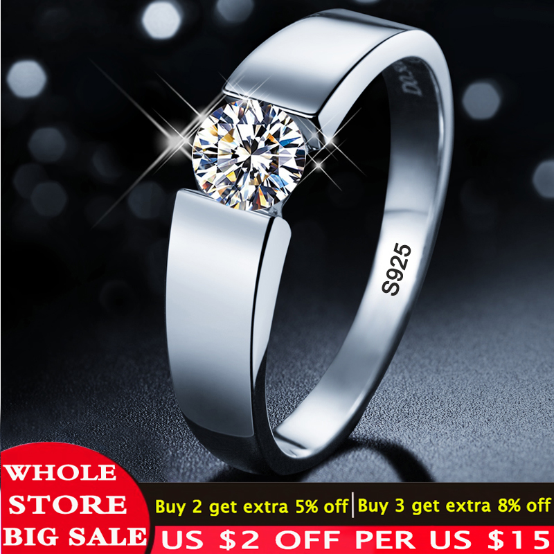 LMNZB With Certificate 100% Solid 925 Silver Rings Set 6mm 1ct CZ Diamant Engagement Wedding Rings Jewelry for Women and Men D10