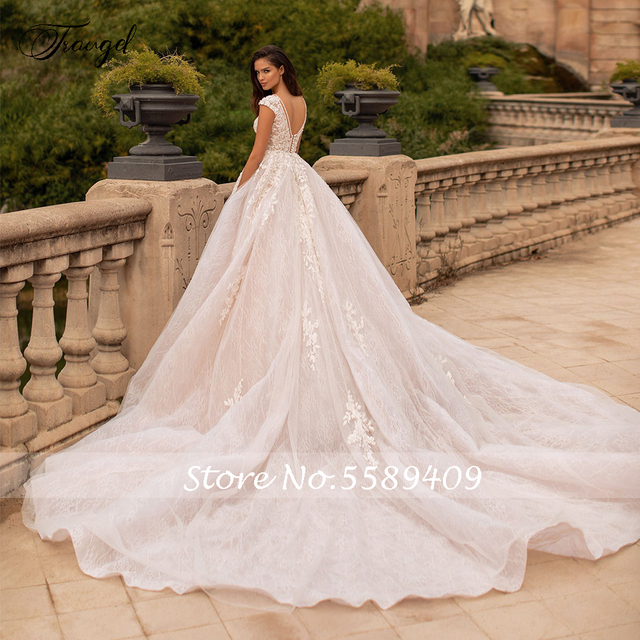 Traugel Vestidos De Novia Backless Lace Ball Gown Wedding Dresses Sexy V Neck Appliques Beaded Chapel Train Vintage Bridal Gowns 2