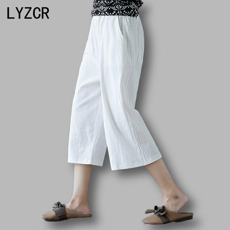 LYZCR White Wide Leg Pants Female Trousers Loose Cotton Line High Waist Pants For Women Summer Cpris Women's Pants Harem 2020