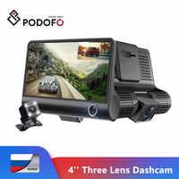 Podofo Dash Cam 4.0 ''HD Dell'automobile DVR del Precipitare Della Macchina Fotografica Doppia Lente Con Videocamera vista posteriore Video Auto DVR Dell'automobile DVR DVR videocamera Autocamera