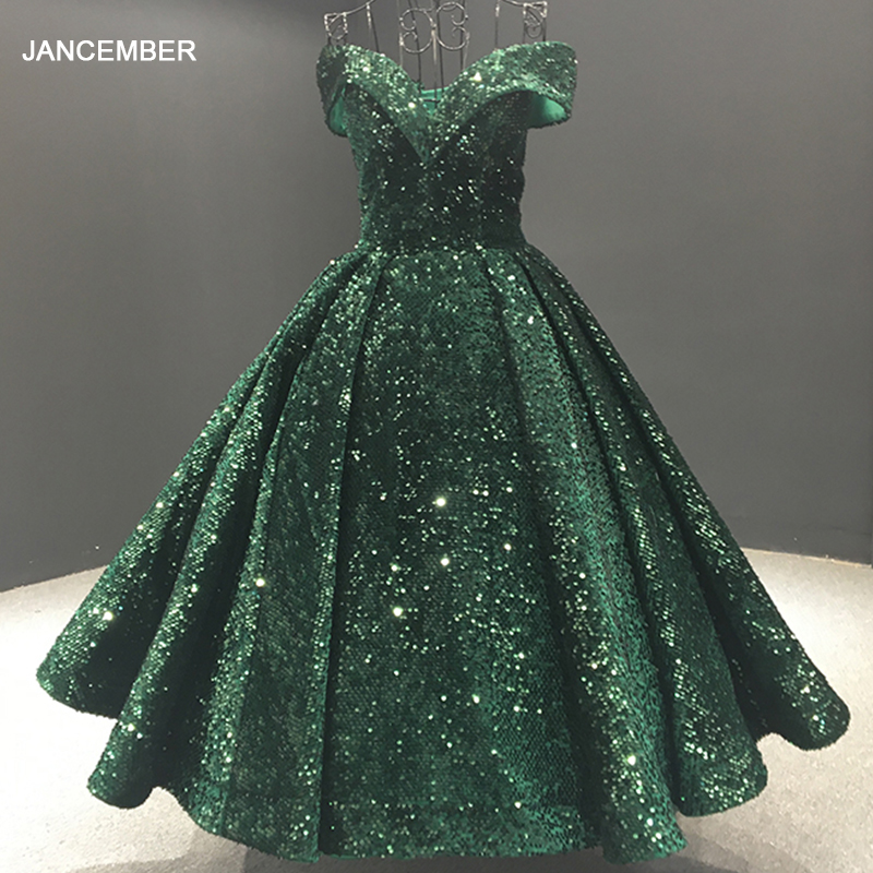 J66742 Green Evening Dress Tea-length Off The Shoulder Sweetheart Lace Up Shiny Sequined Evening Gowns For Women Robe De Soiree