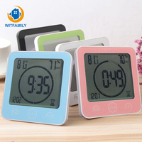 Suction Cup Waterproof Shower Lcd Digital Bathroom Clocks Watches Modern Timer Temp Wall Clock Home Decoration Accessories