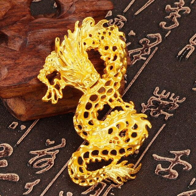 Фото подвеска из твердого золота 24 к с 3d драконом для женщин и цена