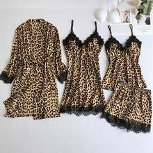 Sexy Leopard Pajama Set Satin Silk Lace Robes Nightdress Cam