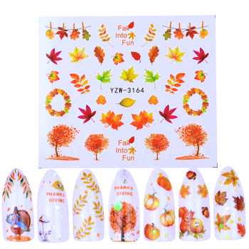 1 Sheet 2020 NEW Nail Art Water Transfer Stickers Autumn Maple Leaf Mixed Beauty Full Wraps Watermark Manicure Tattoo Decals kads 35sheets new design flower cartoon lace water nail stickers water transfer nail art decals beauty full wraps manicure