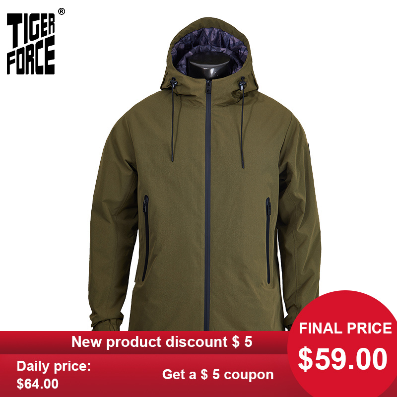 TIGER FORCE 2020 New Arrival Men Spring Jacket High Quality Warm Streetwear Army Green Outwear Rainproof Casual Clothes 50636