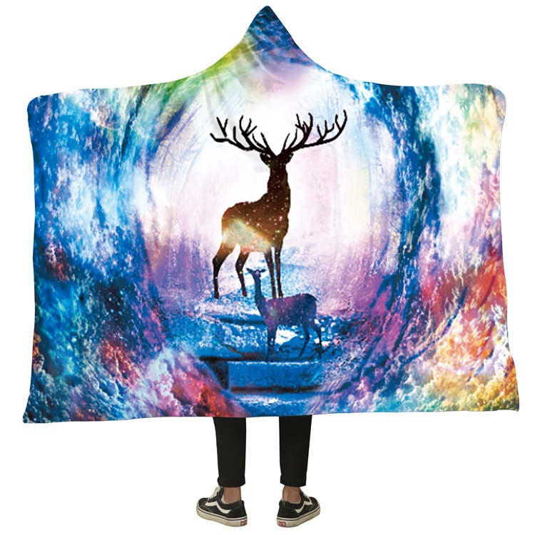 Winter Blanket Sweatshirt Unicorn Cartoon 3D Printed Plush Hooded Blanket for Adults Kid Warm Wearable Fleece Throw Blankets