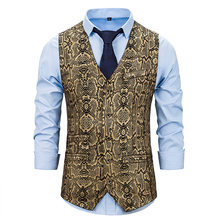 Snake Skin Print Bronzing Vest Mannen Nachtclub Prom Slim Fit Colete Sociale Masculino Vintage Single Breasted Mouwloos Vest(China)