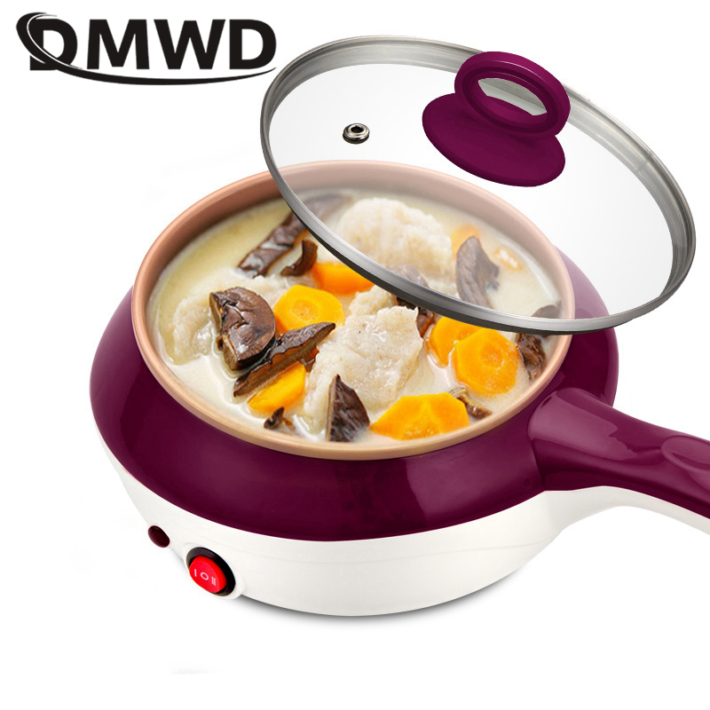 DMWD Electric multicooker stainless steel food steamer egg boiler Multifunction omelette steak frying pan stew soup hot pot EU