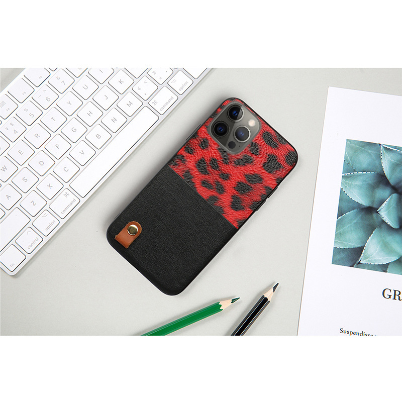 Leopard Pattern Stitching Leather Shockproof Soft Case for iPhone 12