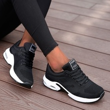 Casual Shoes Platform Light-Weight Ladies Sneakers Outdoor Black Walking Breathable Women