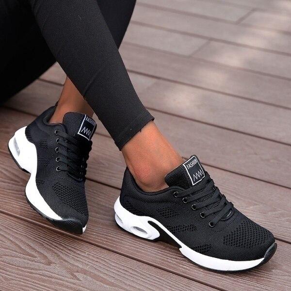 Laufschuhe Frauen Atmungs Casual Schuhe Outdoor Licht Gewicht Sport Schuhe Casual Walking Plattform Damen Turnschuhe Schwarz