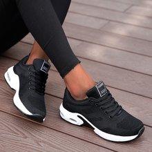 Chaussures de course femmes chaussures décontractées respirantes en plein air léger chaussures de sport décontracté marche plate-forme dames baskets noir