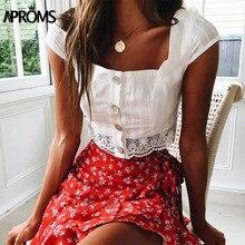 Tank-Tops Buttons Square White-Crop-Top Aproms Cropped Neck-Lace Vintage Women Streetwar