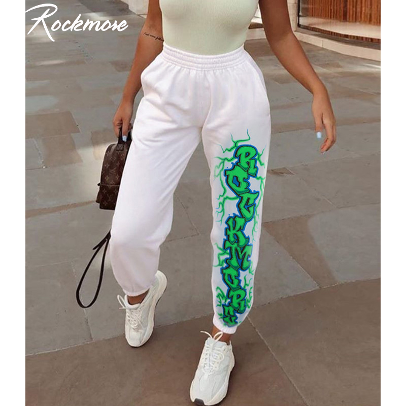 Rockmore Lightning Print Joggers Women Plus Size White Harajuku Pencil Pants Trousers Loose Sweat Pants Winter Sweatpants Femme