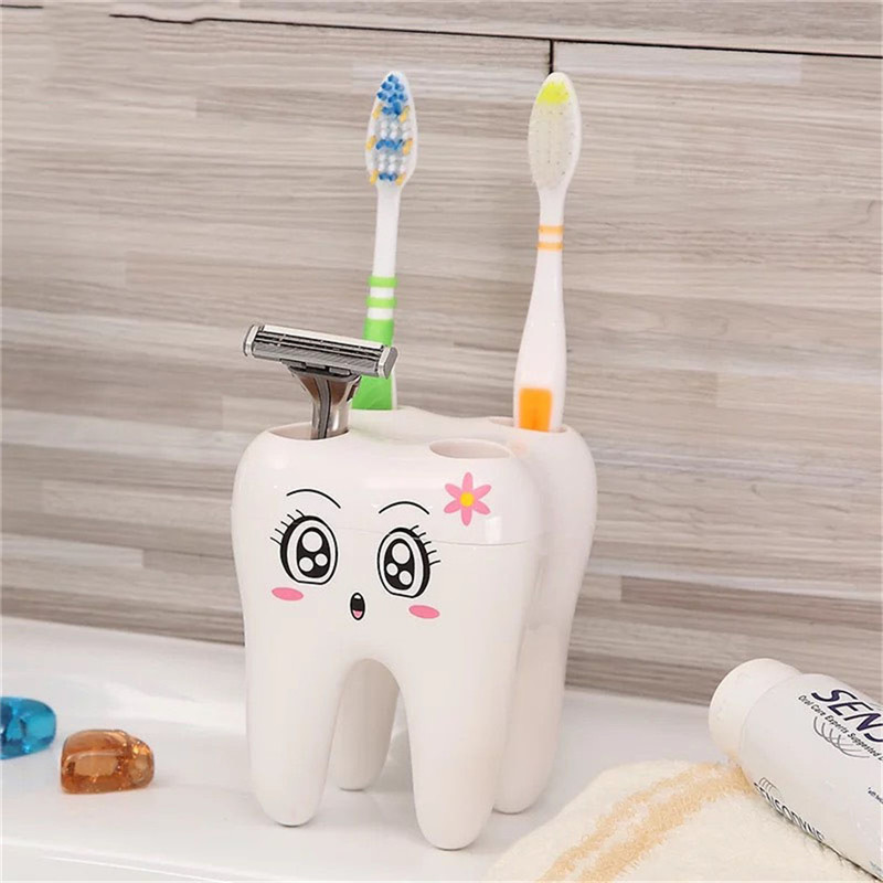 Teeth Style Toothbrush Holder 4 Hole Cartoon Toothbrush Stand Tooth Brush Shelf Bracket Container Bathroom Accessories image