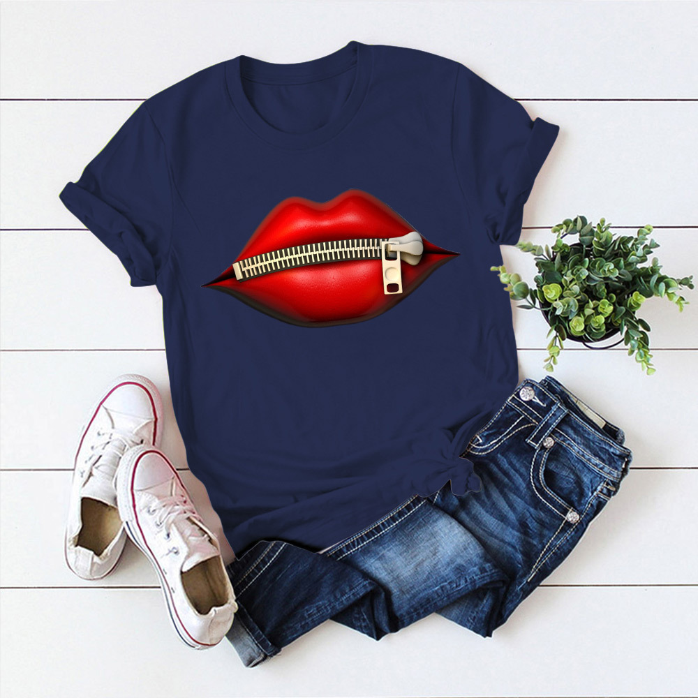 Fashion Women's Casual Sequins Red Lip T-Shirt Cotton Short Sleeve Tops T-Shirts Vintage Creativity Zipper Lips T-Shirt
