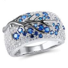 Fdlk mais novo brilhante árvore ramo anel de vermelho/azul/verde/roxo folhas de cristal anéis para as mulheres único punk ramo anel de casamento
