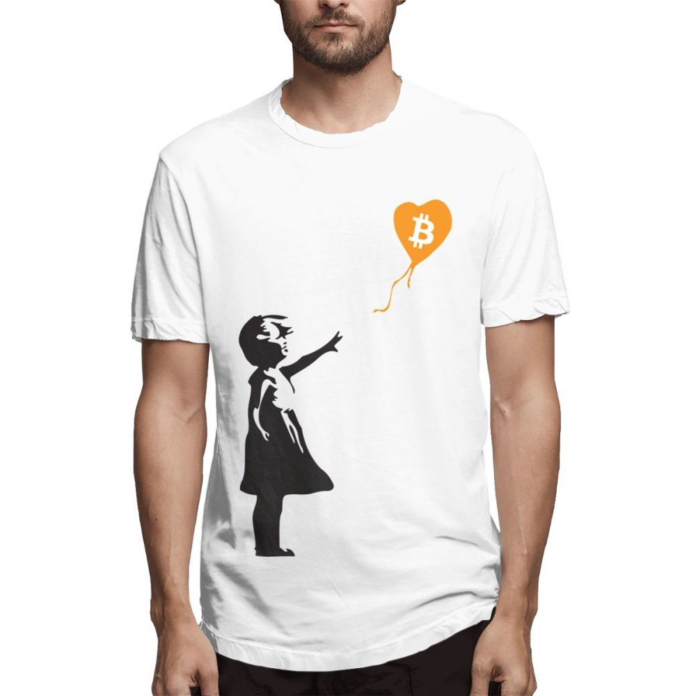 Bitcoin Balloon Guys  Banksy Loves Bitcoin Series T Shirt For Men Summer Casual Streetwear 100% Cotton XS-3XL Big Size Tee Shirt