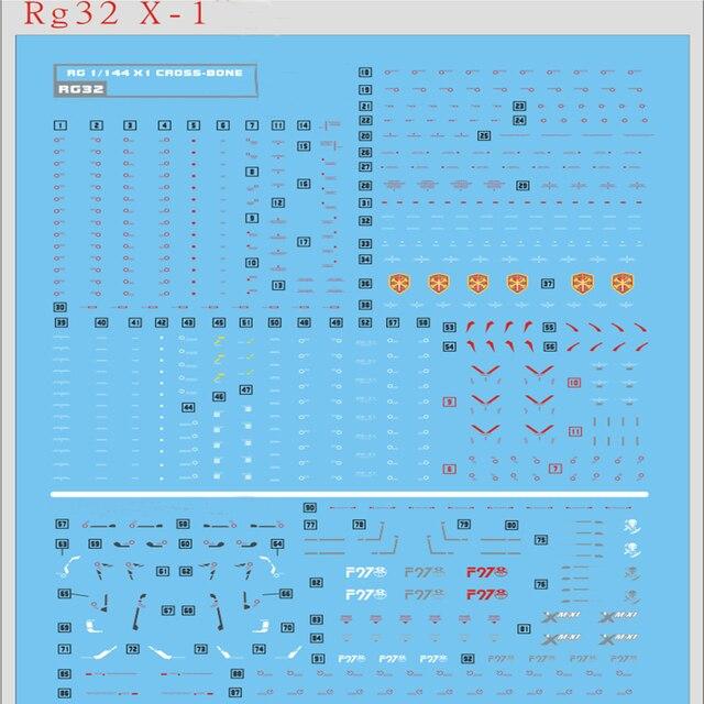 Pegatinas de calcomanía de agua DIY para Bandai RG 1/144 X1, crosbone Gundam X1, piezas de pegatinas modelo