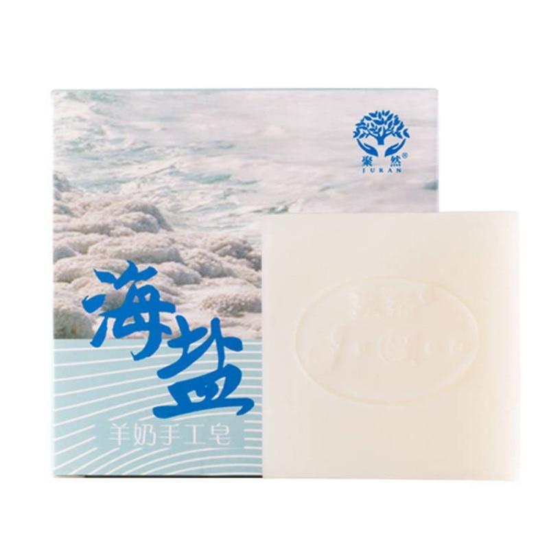 Mite Removal Soap Goat Milk Sea Salt Soap Natural Mild Oil Control Cleansing Handmade Soap Face Skin Care