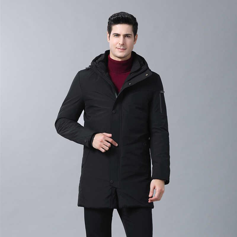 Первоклассная модель 2019, зимний модный брендовый пуховик, мужской пуховик с капюшоном, утиный пух, уличная одежда, пуховое пальто, длинная теплая мужская одежда