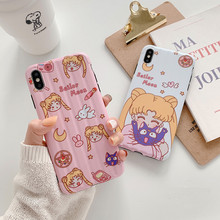 Japanese Cartoon funny Sailor Moon luna cat cute Phone case silicone cover for coque iPhone 7 Plus 8 6s X XR xs max