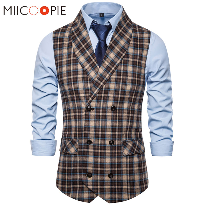 Formal Double Breasted Suit Vest Men Casual Stripe Plaid Waist Coat For Men Dress Vests Business Wedding Chalecos Para Hombre
