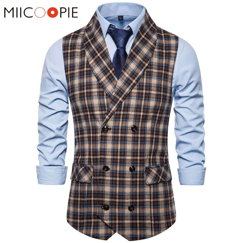 Formal Double Breasted Suit Vest Men Casual Stripe Plaid Waist Coat For Men Dress Vests Business Wedding Chalecos Para Hombre