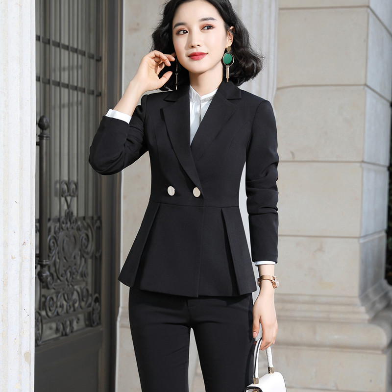 Naviu new arrival high quality women two pieces set pants suit for office lady formal workwear winter clothing 54