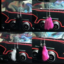 High-end Car Crystal Diamante Pendant Mink Fur Rearview Mirror Hanging Ornaments Charm Car Interior Decoration Accessories(China)