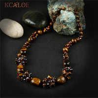 Kcaloe feito à mão azul semi-precioso pedras pingente de cristal colar jóias colares vintage encantos pedra natural