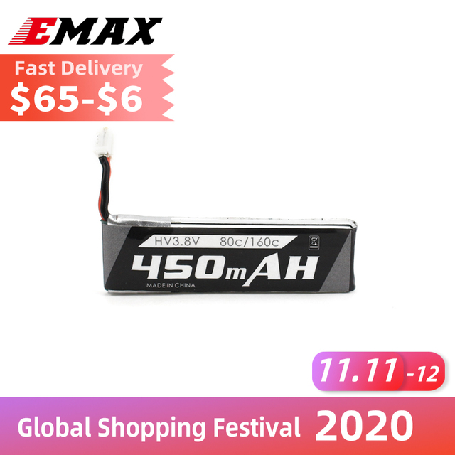 Official Emax 1s 450mAH 80c/160c Lipo Battery Any 3.8v HV Charger For RC Airplane Tinyhawk Drone FPV Model