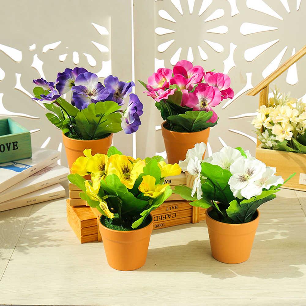 Borboleta Artificial Orquídea Vasos De Flores De Seda Com Potes De Plástico Musgo Casa Varanda Decoração Vaso Conjunto Casamento Decorativo