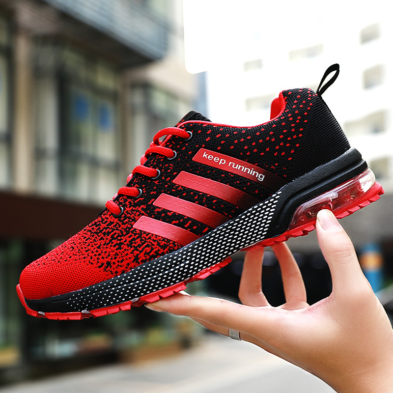 Red Flyline Breathable Hot Women Running Sneakers Air Trainers Lightweight Keep Running Marathon Women Sport Shoes Air Sneakers