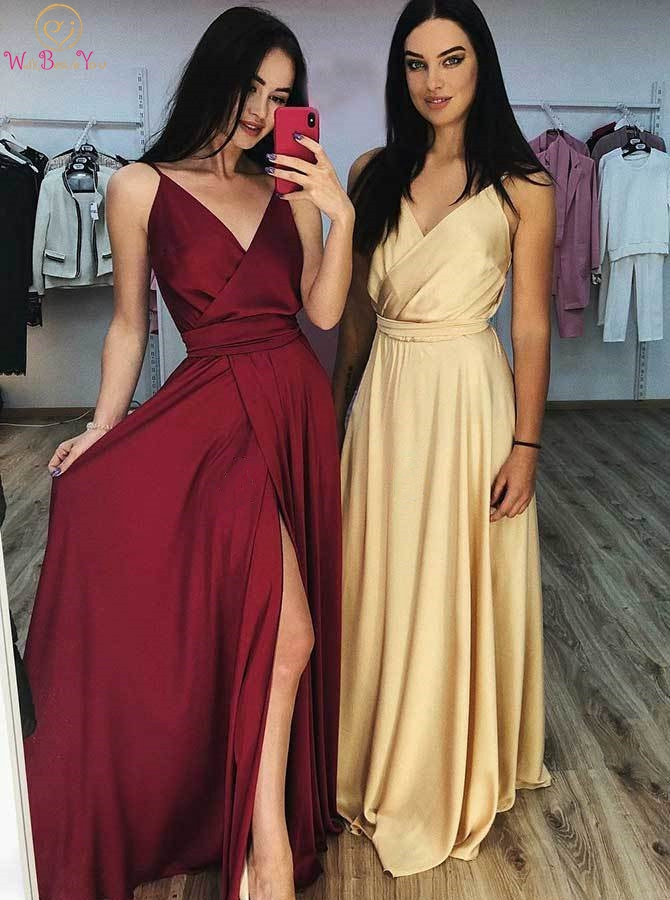 Gold   Evening     Dresses   2019 Burgundy Simple Satin V Neck Spaghetti Strap A Line Front Split Prom Gown Long Women Walk Beside You