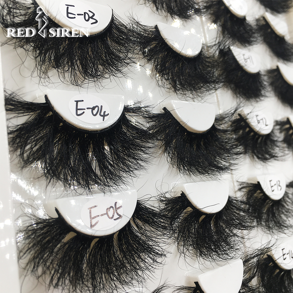 RED SIREN 1 Pair 25 mm Mink Eyelashes Fluffy Lashes Dramatic Messy Long False Eyelashes Makeup Wholesale 25mm 3d Mink Lashes 1