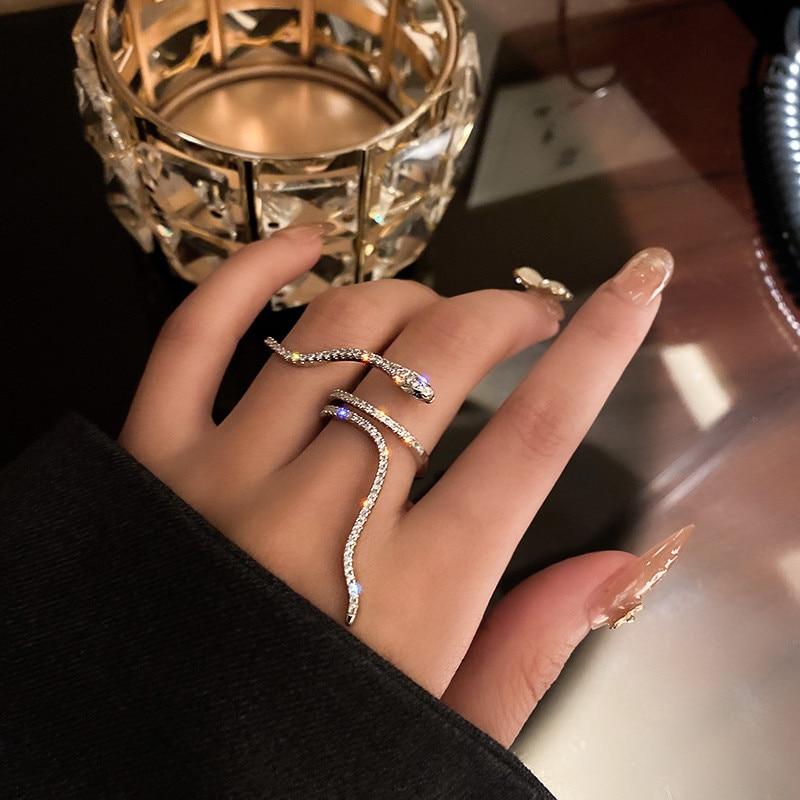 FYUAN Cool serpent forme anneaux pour femmes Bijoux réglable cristal anneaux mariages fête Bijoux