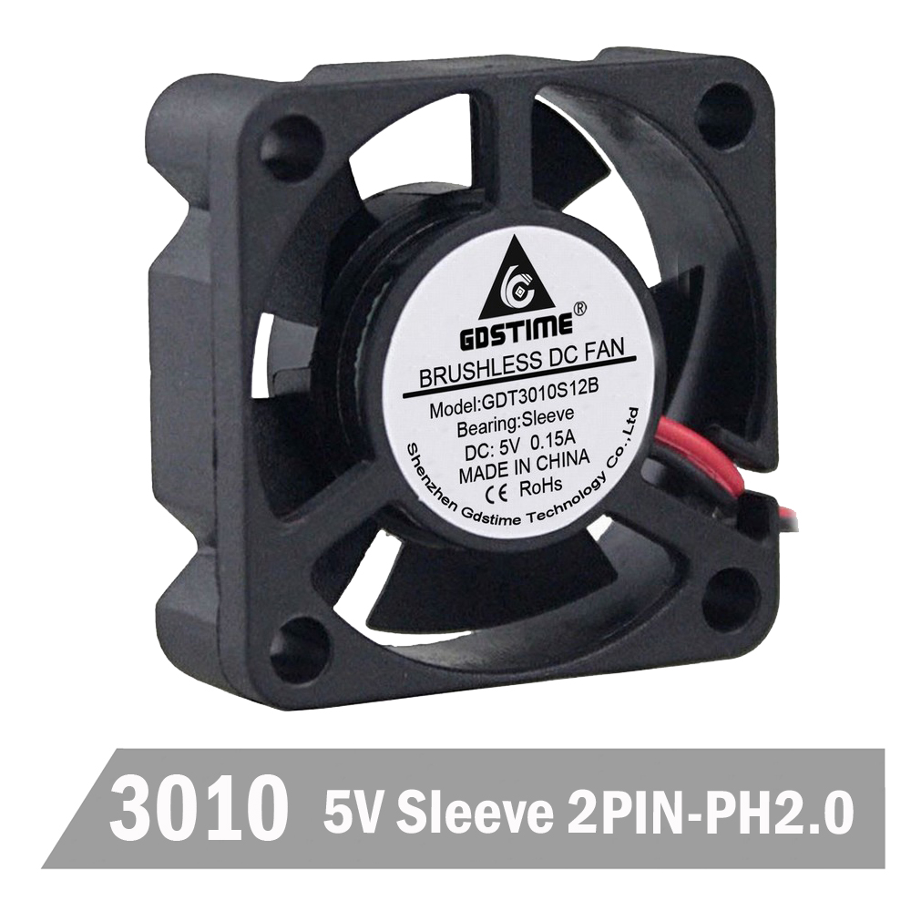 1 Piece Gdstime 3010 5V 2Pin 3cm 30mm 30 x 30 x 10mm 5 Blades Mini DC Cooling Fan in Fans Cooling from Computer Office